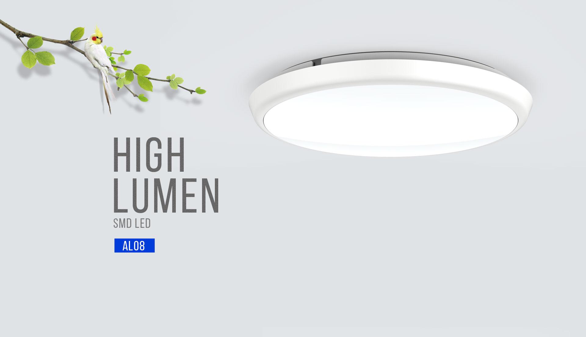 Al08 slim led oyster ceiling light upshine lighting for Led lights for high ceilings